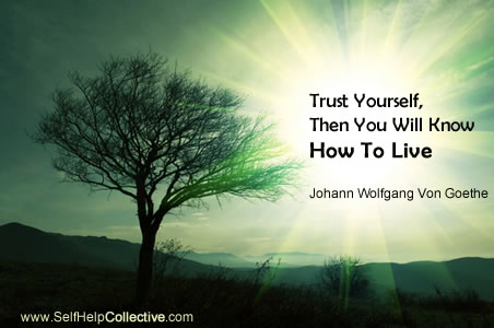 trust yourself quote by Goethe | tree and shining light image