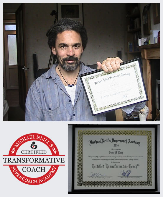 Image of Steve holding is transformative coaching certificate