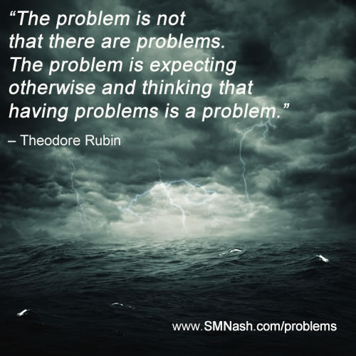 Theodore Rubin quote about problems - stormy grey seascape image | 3 Principles Client Intake Form
