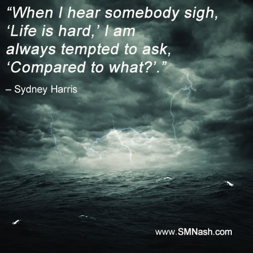 inspirational life quote by Sydney Harris over story sea image
