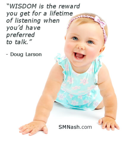 wisdom of listening inspirational quote by Doug Larson | baby image