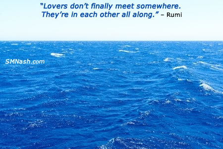 best date ever image | rumi quote over blue seascape