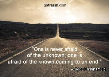Just Surrender: Inspirational quote about the unknown | street going into distance