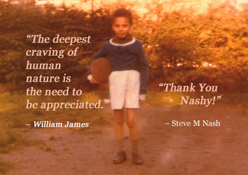 Williams James inspirational quote | photo of boy (me) with football - message to a younger me