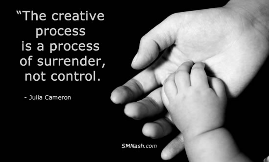 sweet surrender inspirational quote by Julia Cameron | image of baby hand in mother's hand