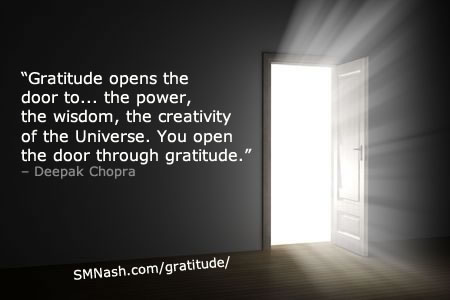 Gratitude quote by Deepak Chopra | open door/white light