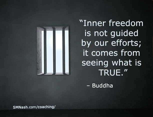 Buddha quote about freedom overlaying image of barred prison window